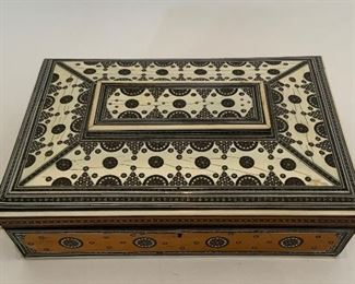 Syrian Inlaid Sewing Box - P2.  Available ONLINE ONLY @ www.scavengersparadise.com                                              Please read all Terms & Conditions before purchasing.