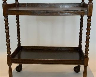 Vintage Wooden Tea Cart on Wheels -CR 8.  Available ONLINE ONLY @ www.scavengersparadise.com                                              Please read all Terms & Conditions before purchasing.