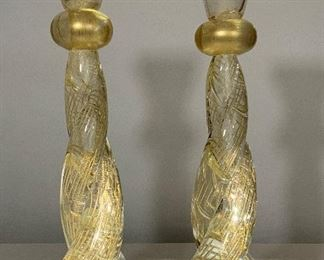 Murano Twisted Golden Candlesticks - LR 4. Available ONLINE ONLY @ www.scavengersparadise.com                                              Please read all Terms & Conditions before purchasing.