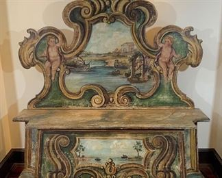 19th C. Venetian Painted Bench w/Cherubs - S1.  Available ONLINE ONLY @ www.scavengersparadise.com                                              Please read all Terms & Conditions before purchasing.