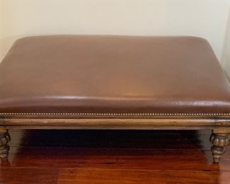 Leather Ottoman w/Brass Nail Head Trim - M2.  Available ONLINE ONLY @ www.scavengersparadise.com                                              Please read all Terms & Conditions before purchasing.