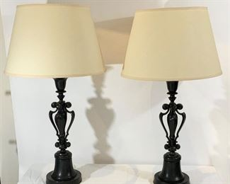 Pair of Metal Lamps w/Dark Bronzed Finish - DO 13.  Available ONLINE ONLY @ www.scavengersparadise.com                                              Please read all Terms & Conditions before purchasing.  Conditions before purchasing.