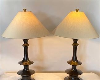 Pair of Modern Bronze Lamps w/Linen Shades - M7.  Available ONLINE ONLY @ www.scavengersparadise.com                                              Please read all Terms & Conditions before purchasing.