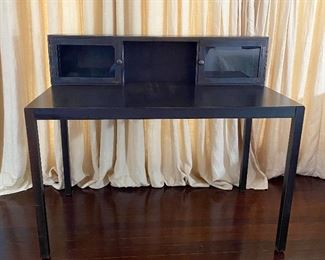 Dark Bronzed Finish Metal Desk - E2.  Available ONLINE ONLY @ www.scavengersparadise.com                                              Please read all Terms & Conditions before purchasing.