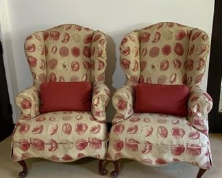 Queen Anne Wingback Chairs w/Floral Linen Slipcovers - GR1.  Available ONLINE ONLY @ www.scavengersparadise.com                                              Please read all Terms & Conditions before purchasing.