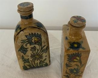 Set of Two Persian Bottles - DR 4 - 2.  Available ONLINE ONLY @ www.scavengersparadise.com                                              Please read all Terms & Conditions before purchasing.