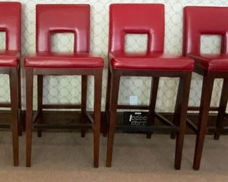 Set of Four Red Faux Leather Bar Stools - MR 2.  Available ONLINE ONLY @ www.scavengersparadise.com                                              Please read all Terms & Conditions before purchasing.