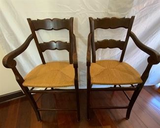 Pair of Barstools with Rush Seats - CR11.  Available ONLINE ONLY @ www.scavengersparadise.com                                              Please read all Terms & Conditions before purchasing.