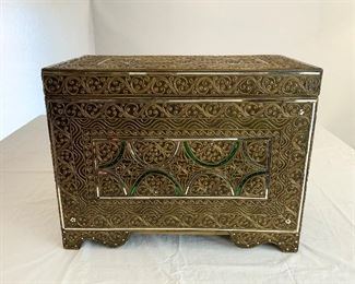 Moroccan Style Glam Hinged Trunk - CR 4.  Available ONLINE ONLY @ www.scavengersparadise.com                                              Please read all Terms & Conditions before purchasing.