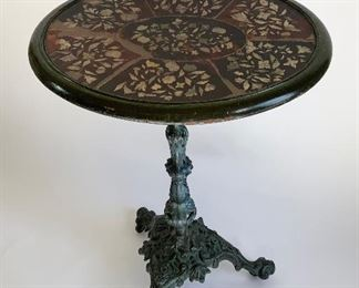 19th C. Side Table w/Iron Base & Mother of Pearl Inlay Top - LIB2.  Available ONLINE ONLY @ www.scavengersparadise.com                                              Please read all Terms & Conditions before purchasing.