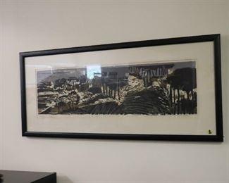 "Margaret Dalton woodblock print 37""x 17"""