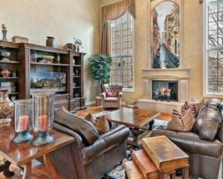 """Stunning """"Like New"""" Walter E. Smithe -Come and buy the entire room!  Leather couch, and love seat, Entertainment center, Coffee and end tables, foyer table, and decorator items"""