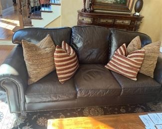 Walter E. Smithe - Rupert leather couch w/matching loveseat and w/stain protection  - W.E.S.  pillows - sold separately
