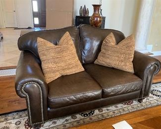 Walter E. Smithe - Rupert leather loveseat w/matching couch and w/stain protection  - W.E.S.  pillows - sold separately