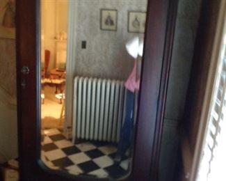 antique mirror front armoire