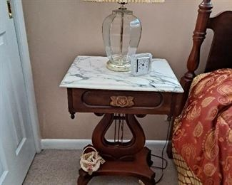 Vintage Marble Top Side Table ( 1 of 2 tables )