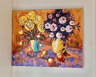 "$475 - Original still life on canvas; 40"" H x 50"" W"