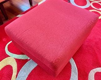 "$125 - EQ3 red storage ottoman; 15"" H x 30"" W x 25.5"" D"