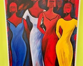 """$450 - Painting of women, unframed, signed Max; 50"""" H x 40"""" W"""