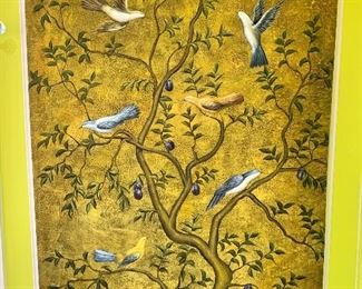 """$450 - Birds in olive tree painting on canvas, unframed; 55"""" H x 40"""" W"""