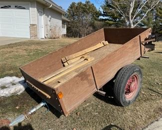 HALF OFF!  $100.00 NOW, WAS $200.00.....................Two Wheel Spoked Trailer, includes wood ramps not pictured (S001)