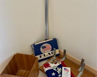 $12.00....................Flag, Two Shelves and Wood Waste Can.  Nylon Flag 3' x 5' (S193)