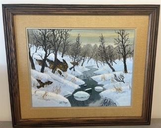 """CLEARANCE !  $6.00 NOW, WAS $30.00...............""""Winter Stream"""" by Al Page Acrylic Painting 26 1/2"""" x 22 1/2"""" (S183)"""