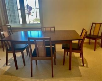 """$400.00.....................MCM Table 64"""" x 42"""", 28 1/2"""" tall, includes 2 20"""" Leaves, Pads for all and 6 Chairs (S114)"""