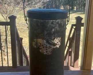 """HALF OFF!  $7.00 NOW, WAS $14.00.................Rustic Bucket with lid 20"""" tall (S099)"""