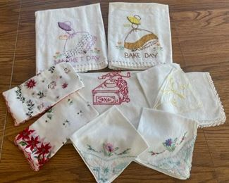 HALF OFF!  $8.00 NOW, WAS $16.00..................Embroidered Towels and Hankies (S087)