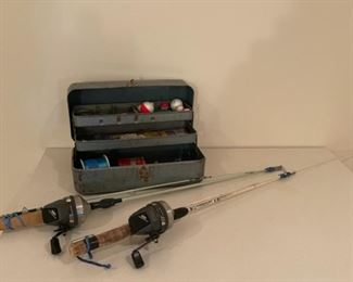 HALF OFF!  $7.50 NOW, WAS $15.00.................Tackle Box and Fishing Rods (S284)