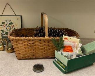 HALF OFF!  $4.00 NOW, WAS $8.00..............Vintage Basket, Flower Frog and more (S235)