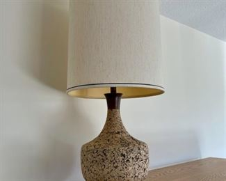 """CLEARANCE !  $50.00 NOW, WAS $200.00........................Mid Century Modern Cork and Teak Lamp 32"""" tall (S220)"""