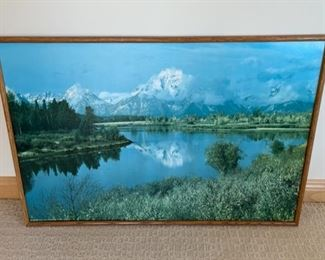 """CLEARANCE !  $2.00 NOW, WAS $6.00...................Mountain Scene Picture 37"""" x 25"""" no glass (S215)"""