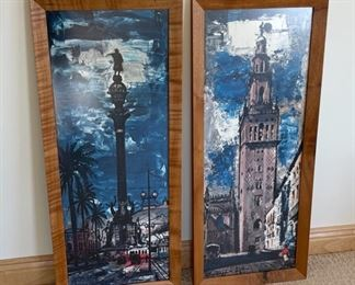 """CLEARANCE !  $6.00 NOW, WAS $30.00......................Pair Pictures Columbus Monument, Barcelona & Giralda, Sevilla      14 1/2"""" x 34""""  (S214)"""