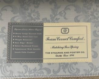 Close up View: FREE: Stearns and Foster Queen Mattress and Boxspring