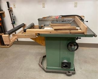 """HALF OFF!  $600.00 NOW, WAS $1,200.00...................General 10"""" Tilting Arbor Saw with Base on Wheels and Saw Blades (S368)"""