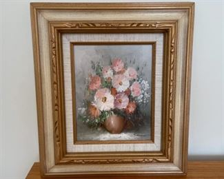 """HALF OFF!  $22.50 NOW, WAS $45.00..................Floral Oil Painting 17 1/2"""" x 15 1/2"""" (S317)"""