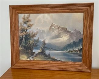 """CLEARANCE !  $10.00 NOW, WAS $45.00.................Mountain Scene Oil Painting 30"""" x 24"""" (S322)"""