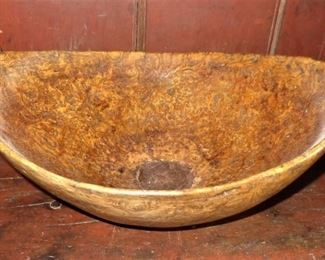 "Antique burl bowl (12.5"" x 14.5""); old repair to bottom center"