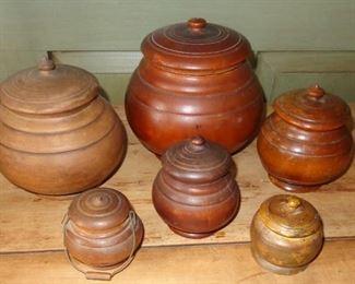 Antique treenware jars