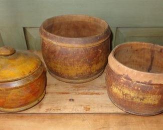 Antique painted tree ware jars
