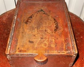 Painted pine slide lid box; dated 1739