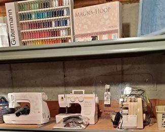Gutermann Embroidery Thread; Magna Hoop; Lined Basket; Baby Lock Anna BL20A; Singer Serger & Thread