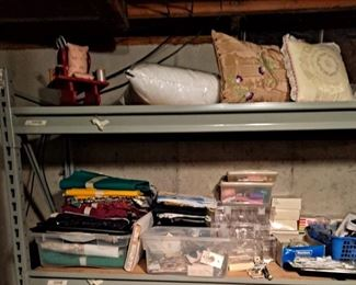 Assorted Sewing Notions & Supplies; Thread, Floss, Buttons, Fabric, Pillows and much more!!