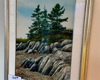 """Lot 6041. $2,000.00.  Hand-signed original Allen Blagden watercolor """"Rocky Shore"""" by the famed listed artist b. 1938. One of his paintings, """"The Broad Axe"""" fetched $68,750 at Christie's!  29""""h x 22""""w"""