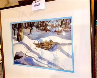 """Just Added: Lot 6129. $2,400.00.  Tom Lynch Original Watercolor. Lovely snowy banks with great light! Per the artist himself, this was one of his earliest watercolors EVER.  He painted this in the 1980's in Woodstock, NY where he was taking a class!  He did say thanks for the walk down memory lane! Frame is: 30.5""""w x 24.75""""t, Image is: 20.75""""w x13.5""""t."""