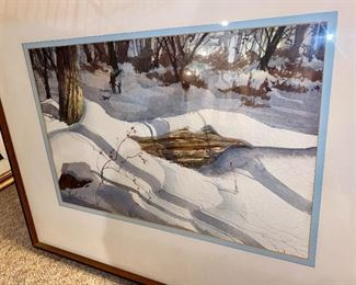 """JJust Added: Lot 6129. $2,400.00.  Tom Lynch Original Watercolor. Lovely snowy banks with great light! Per the artist himself, this was one of his earliest watercolors EVER.  He painted this in the 1980's in Woodstock, NY where he was taking a class!  He did say thanks for the walk down memory lane! Frame is: 30.5""""w x 24.75""""t, Image is: 20.75""""w x13.5""""t."""