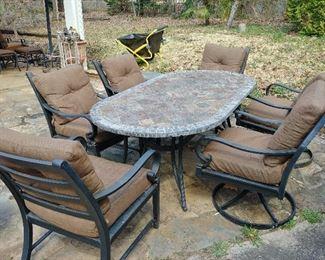 7 Piece Outdoor Deep Seating Dining Set
