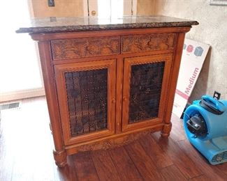 Wooden Wine Cabinet with Granite Top (top not attached)